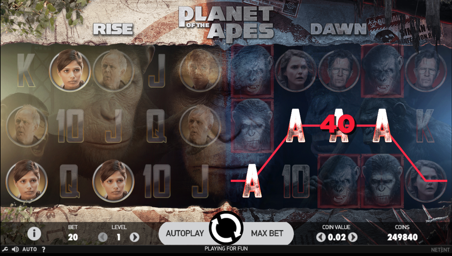 Planet of the Apes dual slot win