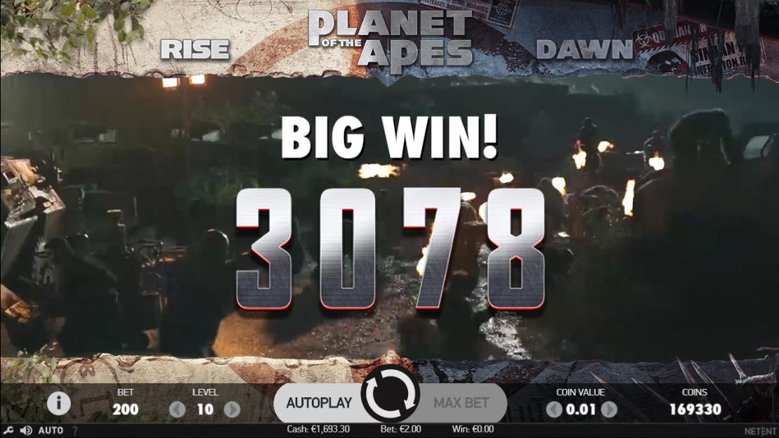 Vitória massiva na slot Planet of the Apes