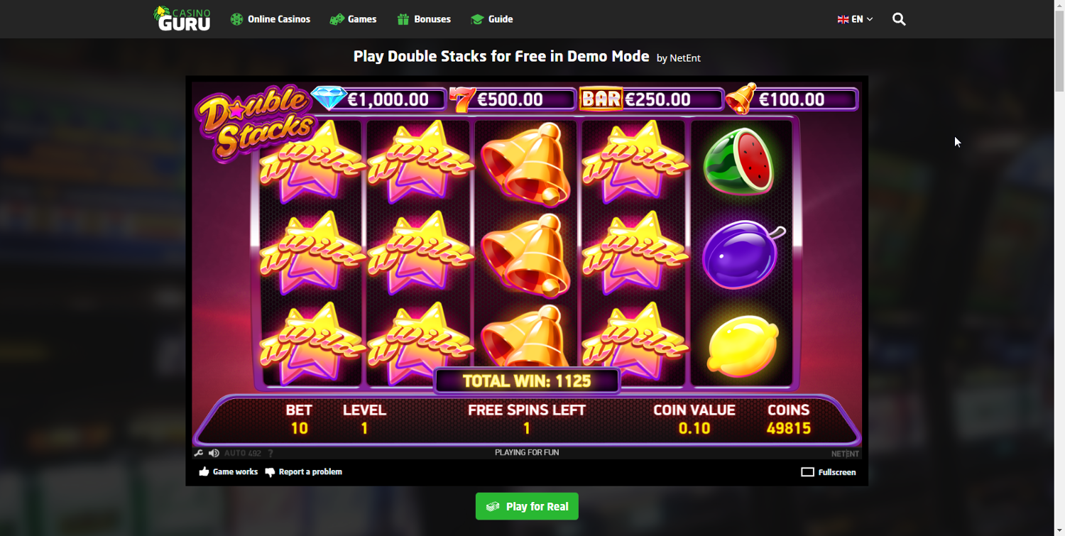 Double Stacks stacked wilds in free spins