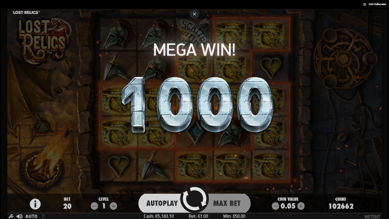 Lost Relics mega win