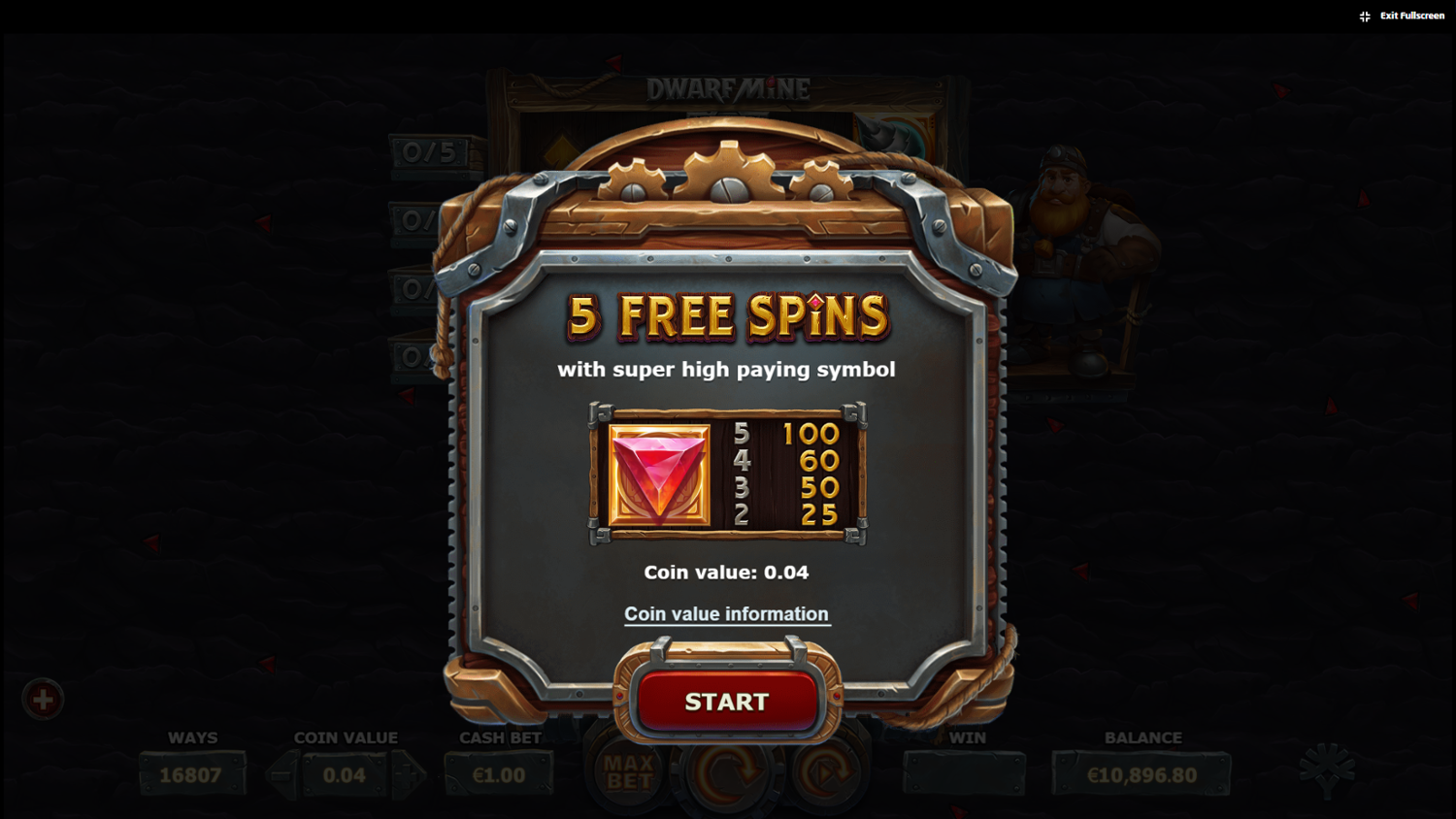 Dwarf Mine Collectible symbols free spins