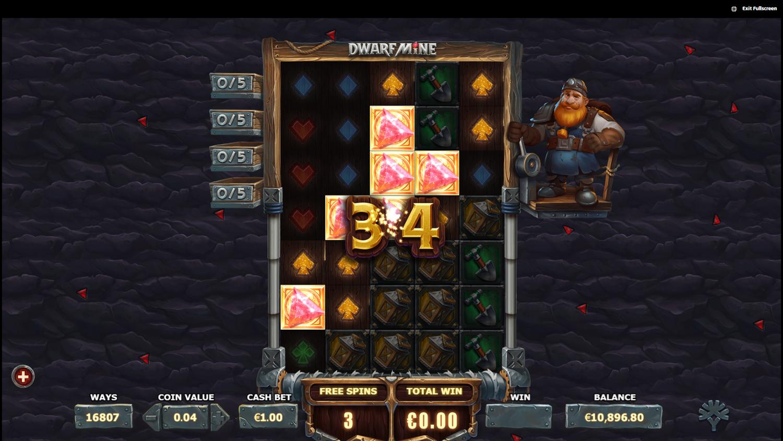 Dwarf Mine collectibles bonus round win