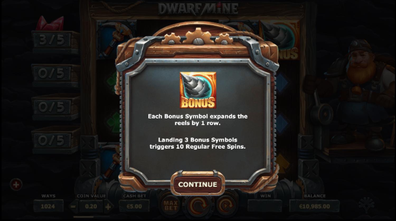 Dwarf Mine slot bonus symbol