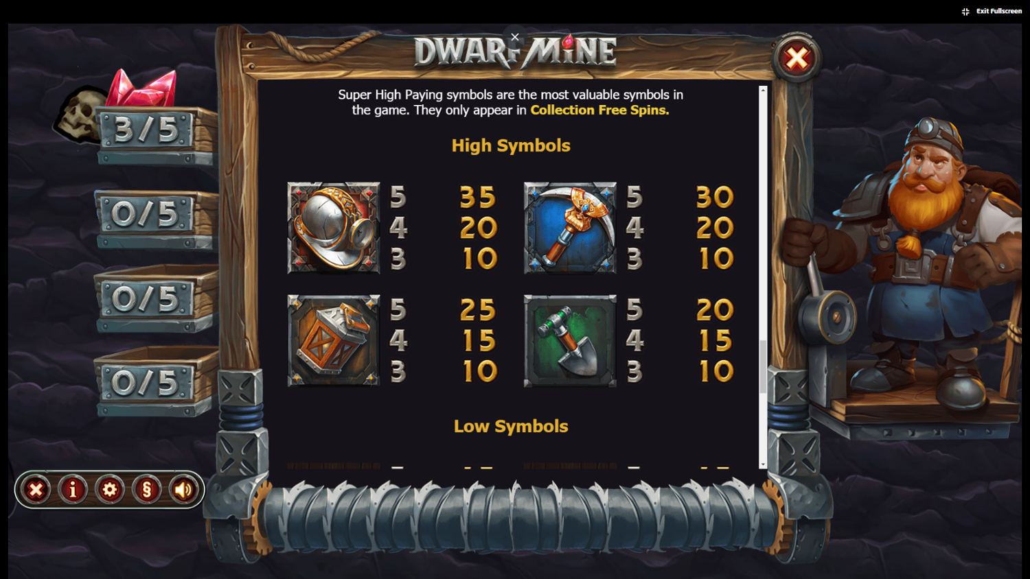 Dwarf Mine high symbols paytable