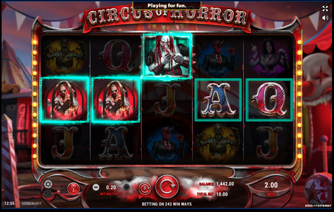 Circus of Horror win