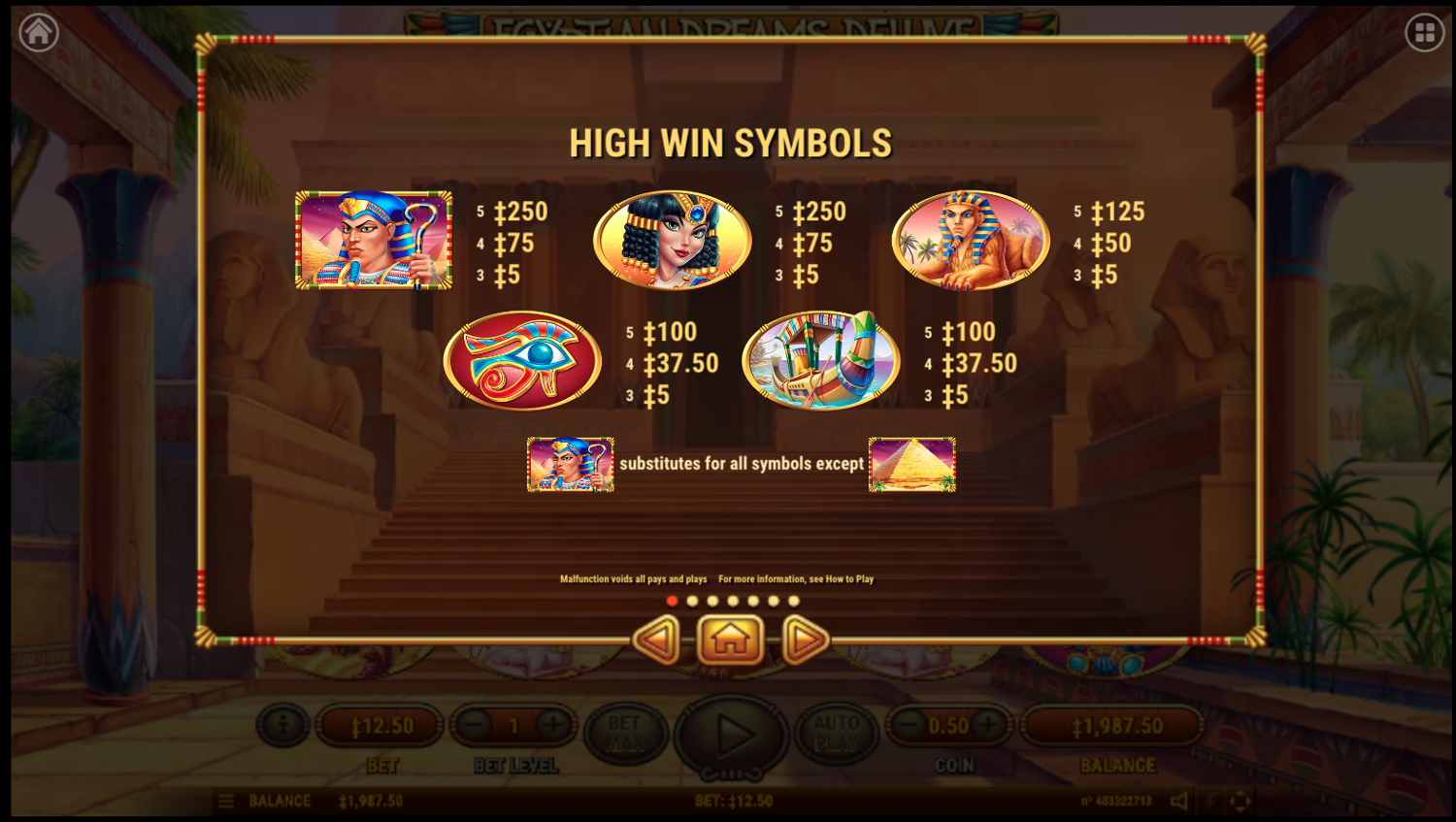 Egyptian Dreams Deluxe top symbols paytable