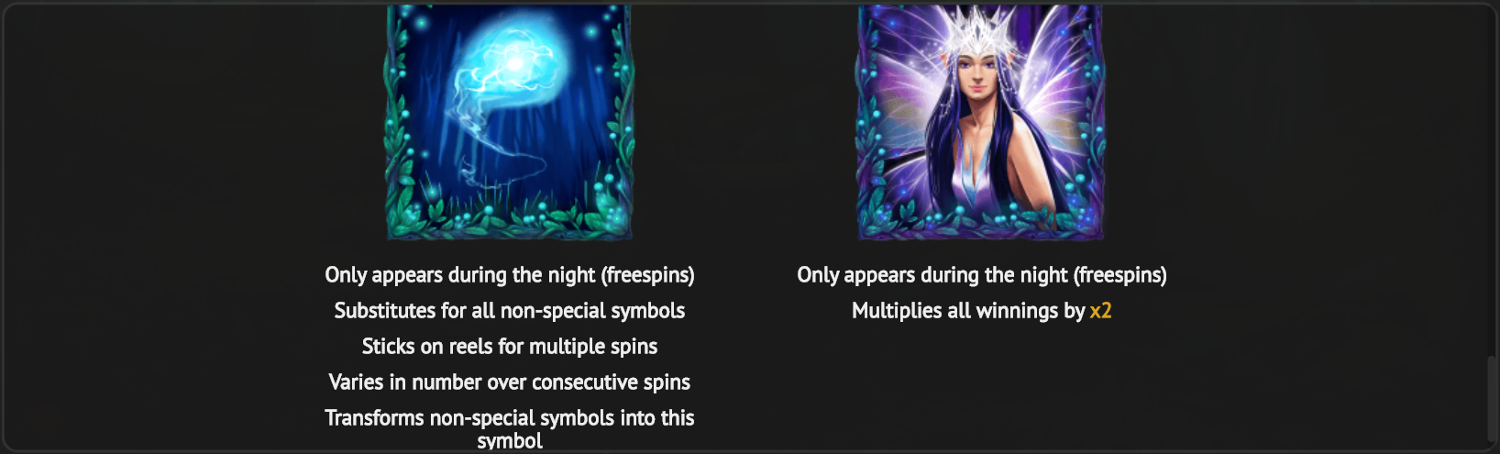 Fairie Nights night mode special symbols