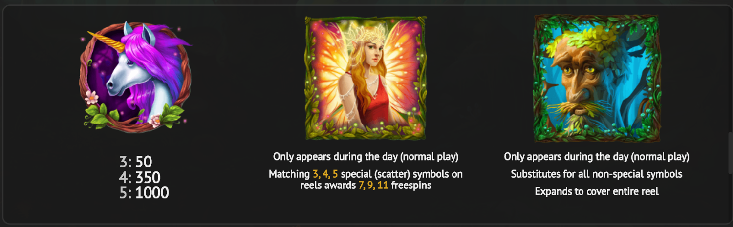 Fairie Nights day mode special symbols