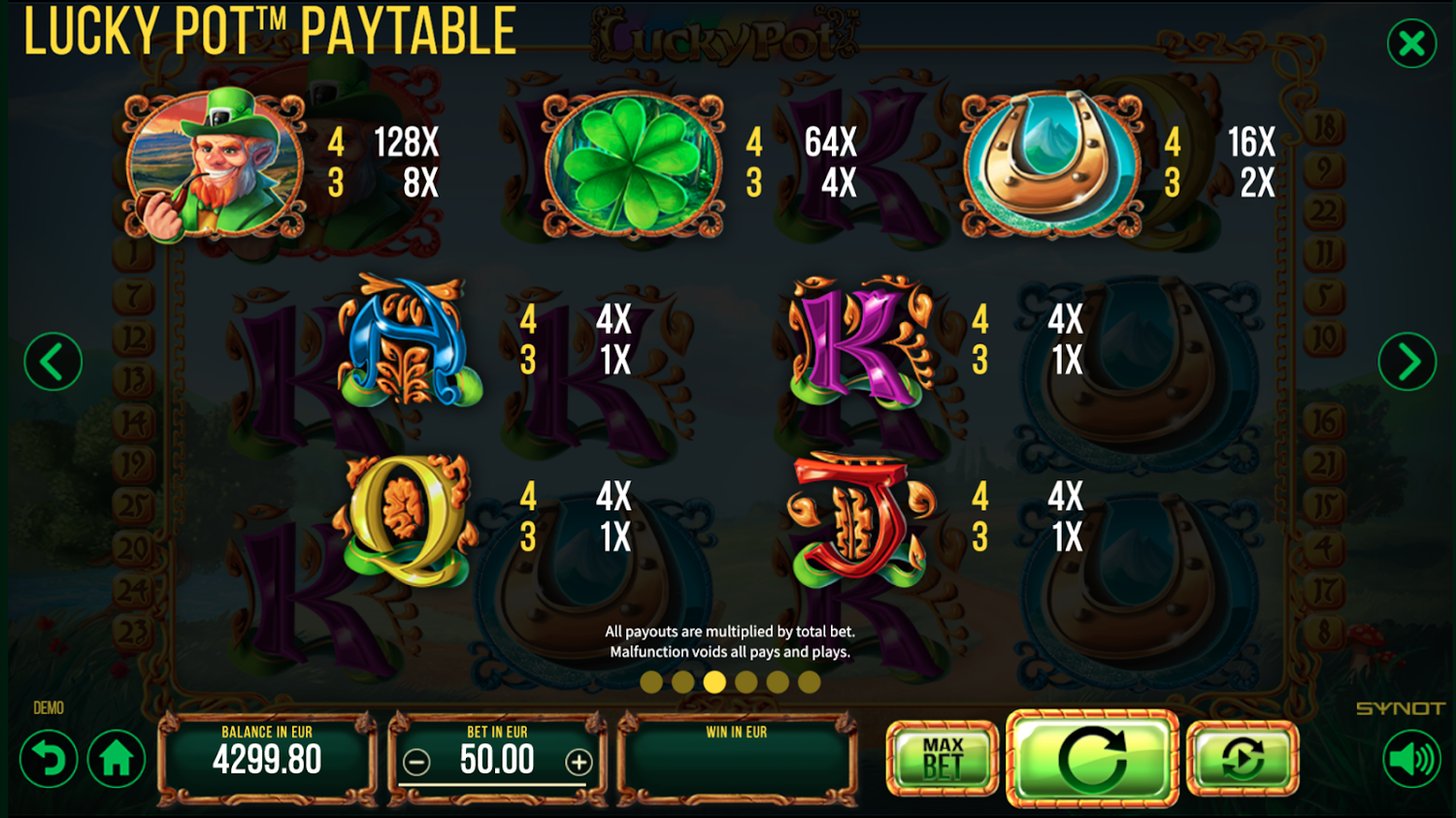 Lucky Pot paytable