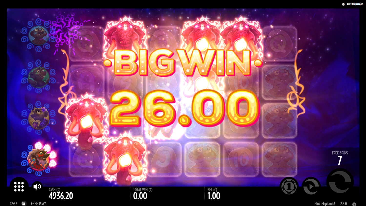 Pink Elephants slot free spins win