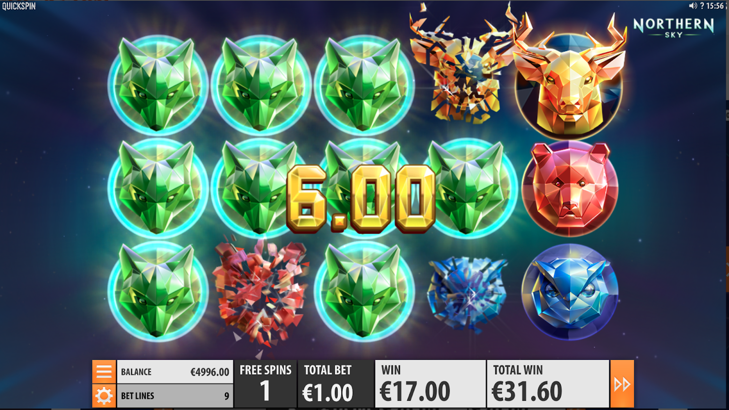 Northern Sky slot Bonus game re-spin