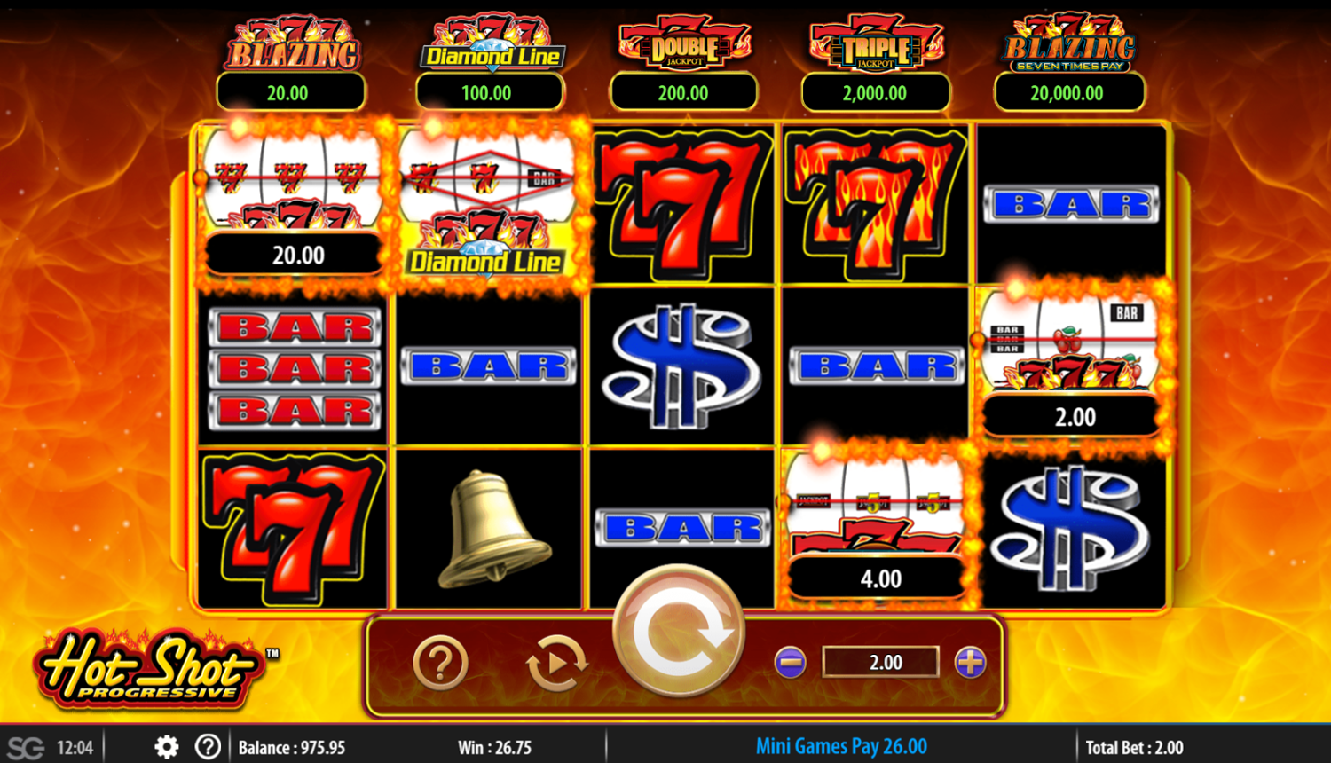 Hot Shot Progressive bonus game win
