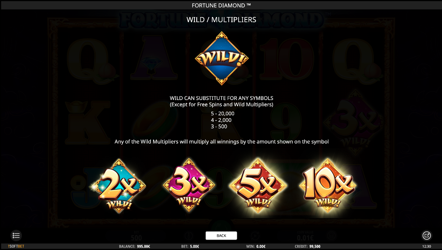 Fortune Diamond Wild multiplier symbol