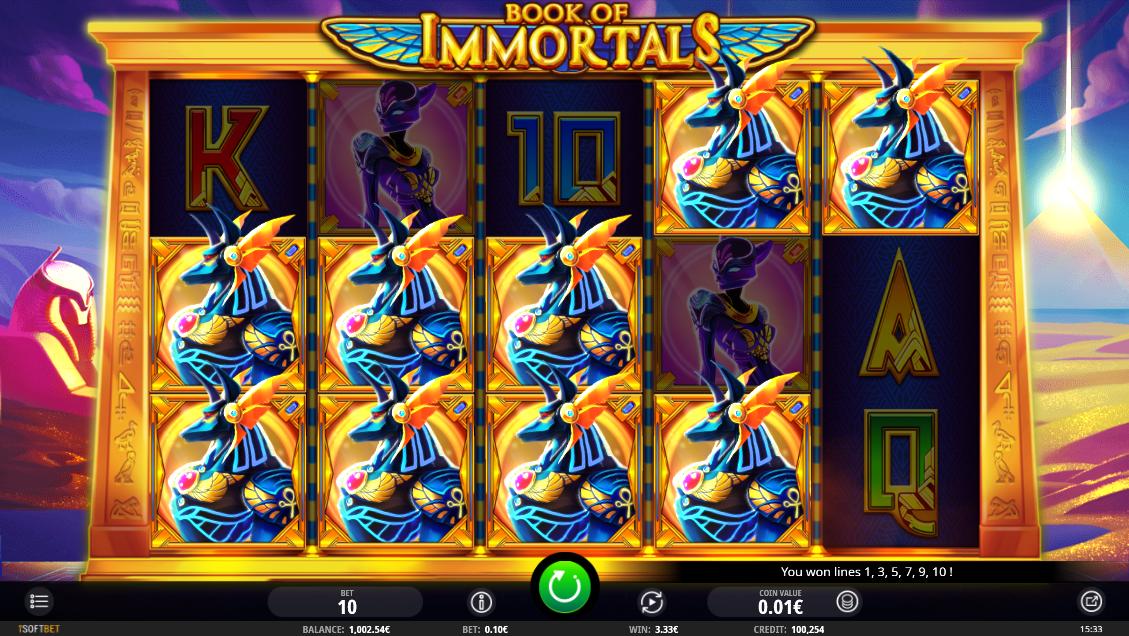 Book of Immortals base game mega win