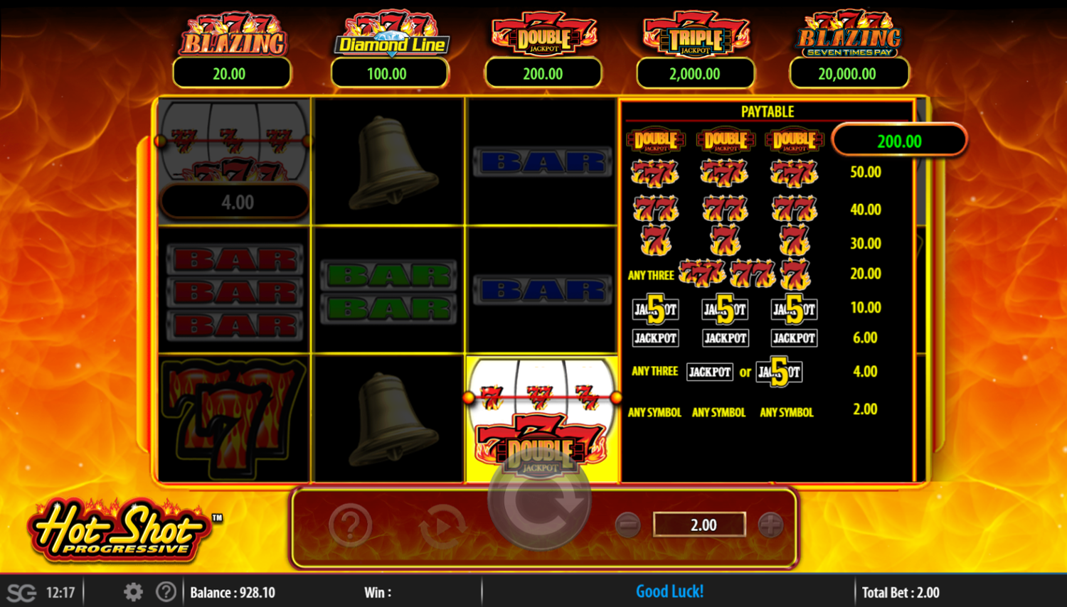 Hot Shot Progressive - Double 7 jackpot paytable