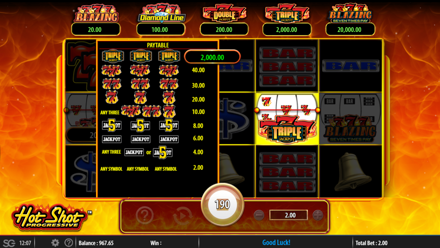 Hot Shot Progressive - Diamond Line scatter paytable